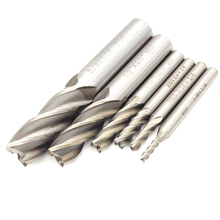 цена на 6Pcs Carbide Straight Shank End Mill Inch HSS 4 Flutes Milling Cutter Straight Shank Router Bit Set