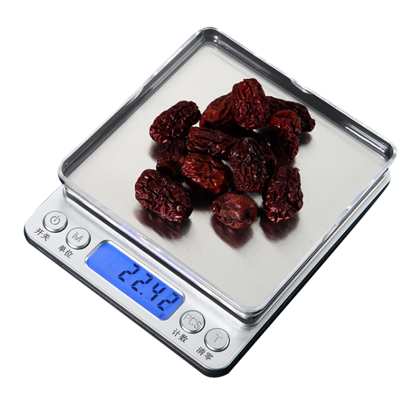 Image 2 - 500g/1/2/3kg 0.01/0.1g LCD Digital Scales Mini Precision Grams Weight Weighing Scale Electronic Balance Scale for Tea Baking-in Weighing Scales from Tools