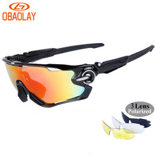 OBAOLAY UV400 Mens Polarized Cycling Sun Glasses Sports Bike Bicycle Glasses 2017 MTB Mountain Bike Sunglasses Eyewear Radar EV