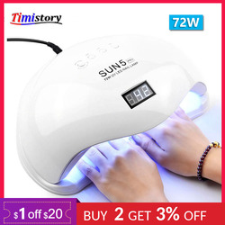 UV Lamp 72W SUN5 PRO LED Nail Lamp For Manicure Two Hand Lamp 36 Pcs Led Beads Nail Dryer For Curing Nail Gel Nail File Tools