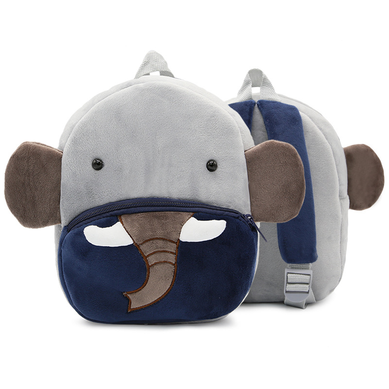 3D Cartoon Elephant Children Backpacks For Girls Boys Velvet Kids School Bags Gift Baby Kindergarten Schoolbag