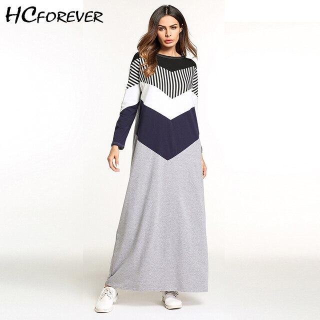 5f0ba3995 Casual Maxi manga larga de algodón vestido largo Otoño Invierno rayas  señoras vestidos sueltos Patchwork 2018