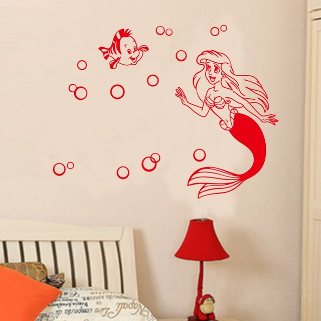 Cartoon Wall Stickers Big Size 78 X 55 Cm For Kids Rooms Mermaid Creative  Removable Wall Stickers, Home Decoration