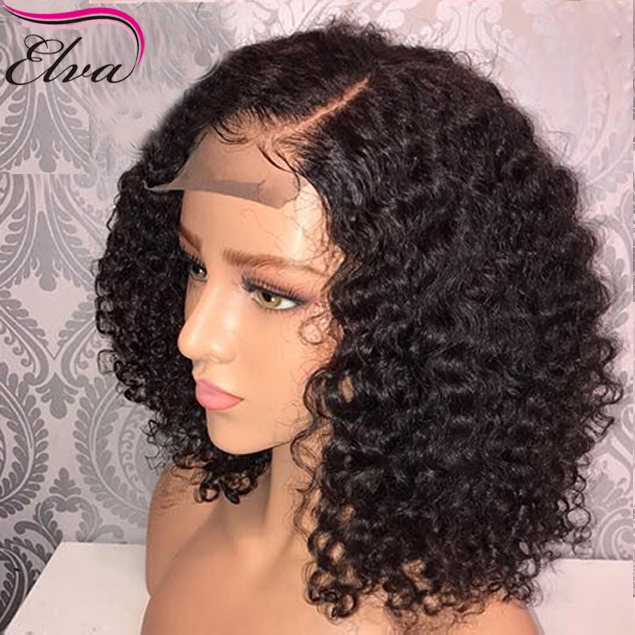 150 Density Short Lace Front Human Hair Wigs With Baby Hair Pre Plucked 13x6 Short Human Hair Bob Wigs For Black Women Elva Hair