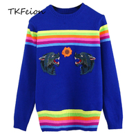 2018 Autumn Winter Womens Warm Sweater Fashion Rainbow Striped Wolf Embroidered Female Casual Knitted Tops O neck Slim Pullovers