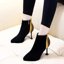 High Quality New Flock Leather Pointed Toe Shoes Women Thin Heel Black And Yellow Stitching Winter Ankle Boots CH-B0105