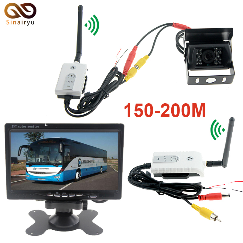 Sinairyu Car Reversing Kit TFT LCD Monitor + CCD IR Backup Camera For Van/Truck+2.4G Wireless AV Cable Transmitter and Receiver dc 12 24v 7 lcd car parking monitor ir night vision ccd ir backup camera 4 pin video cable 10m 15m 20m for bus van truck
