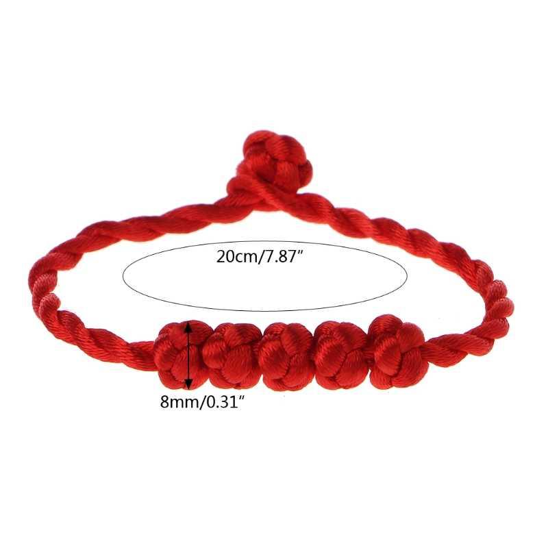 Chiński Feng Shui szczęście liny pasek bransoletka 5 wiązane koraliki czerwony ciąg biżuteria