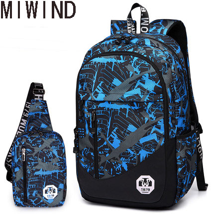 MIWIND Men Backpack Oxford School Bag For Teenagers Boys School Backpack Travel Bag Daily Laptop Bags 2 Pcs/set TSS1499