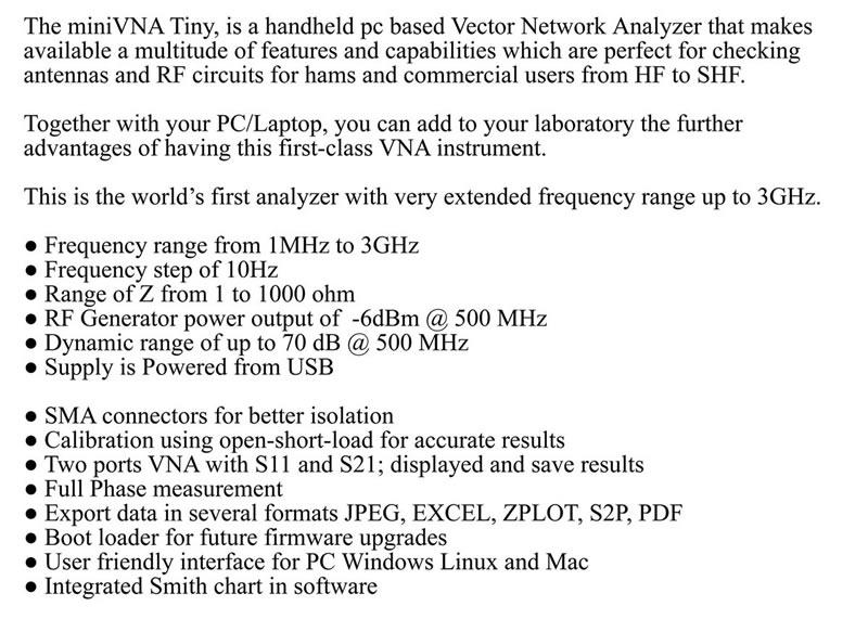 US $350 0 |1M 3GHz Vector Network Analyzer miniVNA Tiny Plus2  VHF/UHF/NFC/RFID RF Antenna Analyzer Signal Generator SWR/S Parameter/Smith  on