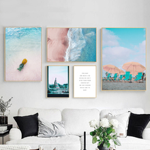 Wall Art Canvas Painting Sailboat Pineapple Beach Sea Landscape Nordic Posters And Prints Pictures For Living Room Decor