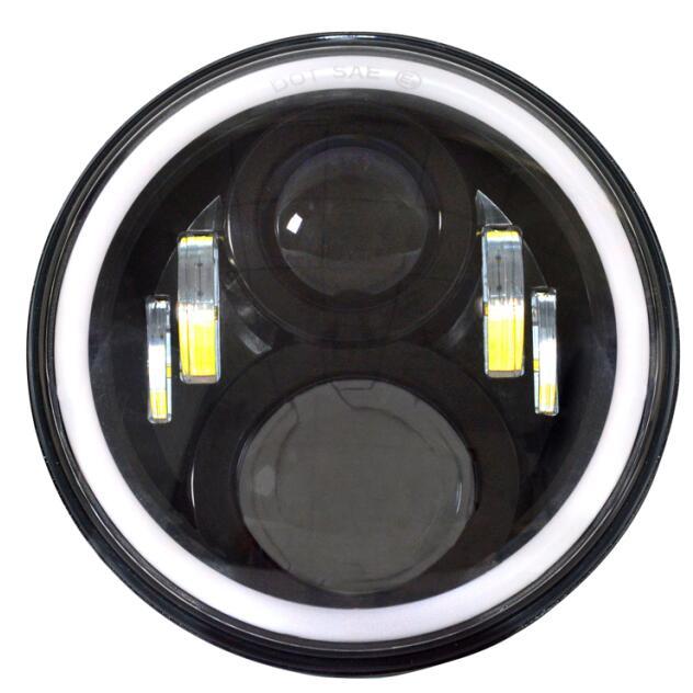 Pair 7 Inch Putaran LED Lampu lampu Halo Angle Mata + Sinyal Untuk - Lampu mobil - Foto 2