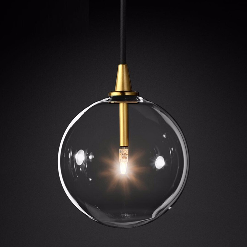 LukLoy Modern Bubble Clear Glass Ball Pendant Light Vintage Loft Kitchen Island Living Room Bedside Simple Retro Suspension Lamp