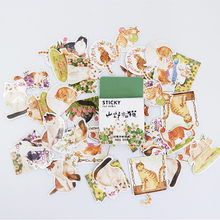 45Pcs/box Cute flower cat Mini Decoration Paper Sticker DIY Scrapbook Notebook Album Sticker Stationery Kawaii Girl Stickers 50pcs box travel building decoration stickers mini paper decoration diy scrapbook notebook album sticker stationery girl sticke