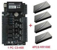 4 Дверные рамы Управление доступом Панель C3 400 двери контроля доступа + 4 шт. KR100E RFID считыватель ZK доступа Contorl доска C3 400