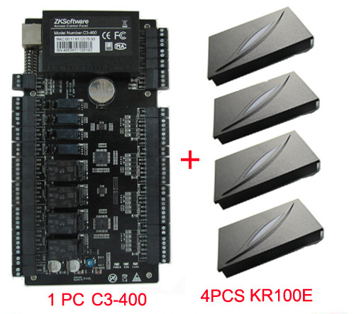 4 Doors Access Control Panel C3-400 door access control+4pcs KR100E RFID Reader ZK Acces ...