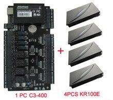 4 Doors Access Control Panel C3-400 door access control+4pcs KR100E RFID Reader ZK Access contorl Board C3-400