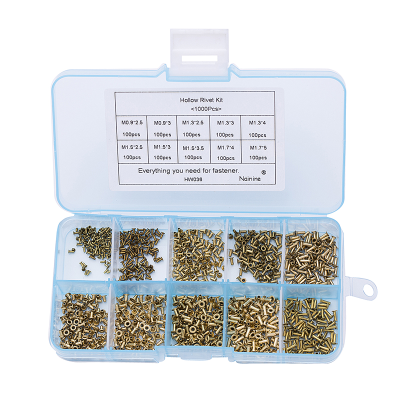 1000Pcs M0.9 M1.3 M1.5 M1.7 Mix GB876 Tubular Rivets Double-sided Circuit Board PCB Nails Copper Hollow Rivet Nuts Kit HW036 цены