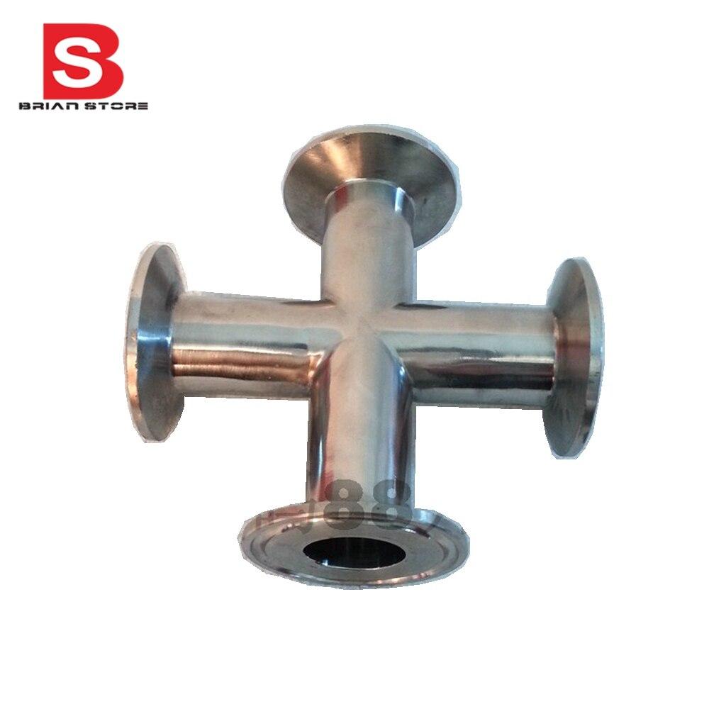 ФОТО 51MM Sanitary Tri Clamp 4 Way Cross Stainless steel  304