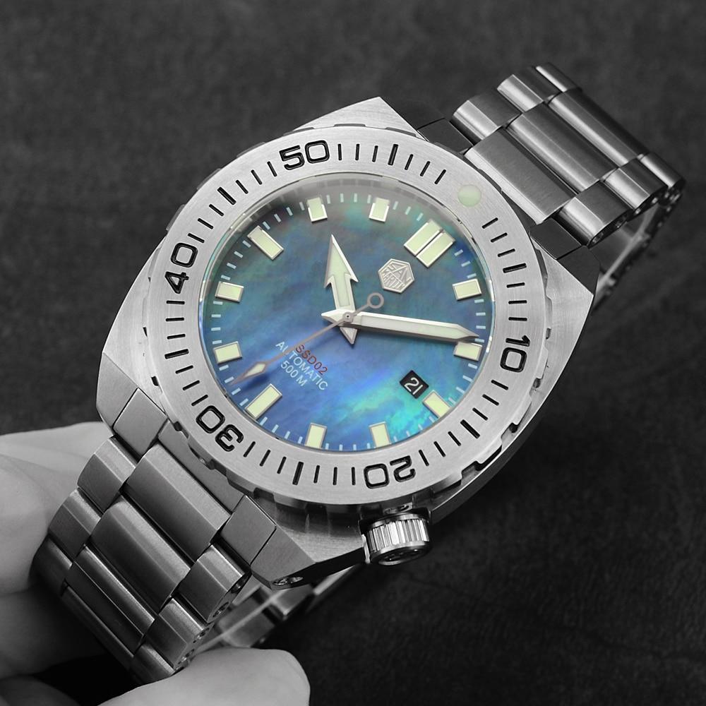 Men Automatic Mechanical Watch 500m Water Resistance Sapphire Glass San Martin Stainless Steel Diving Watch Big Retro Wristwatch