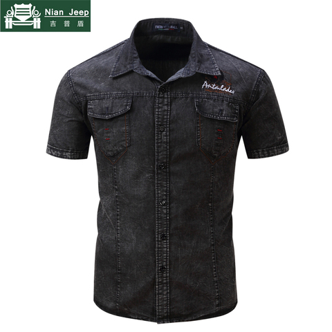 2018 Fashion Brand New Denim Shirt Men Short Sleeve Mens Shirts Military Style Male High Quality Streetwear Shirts Size S-2XL Pakistan