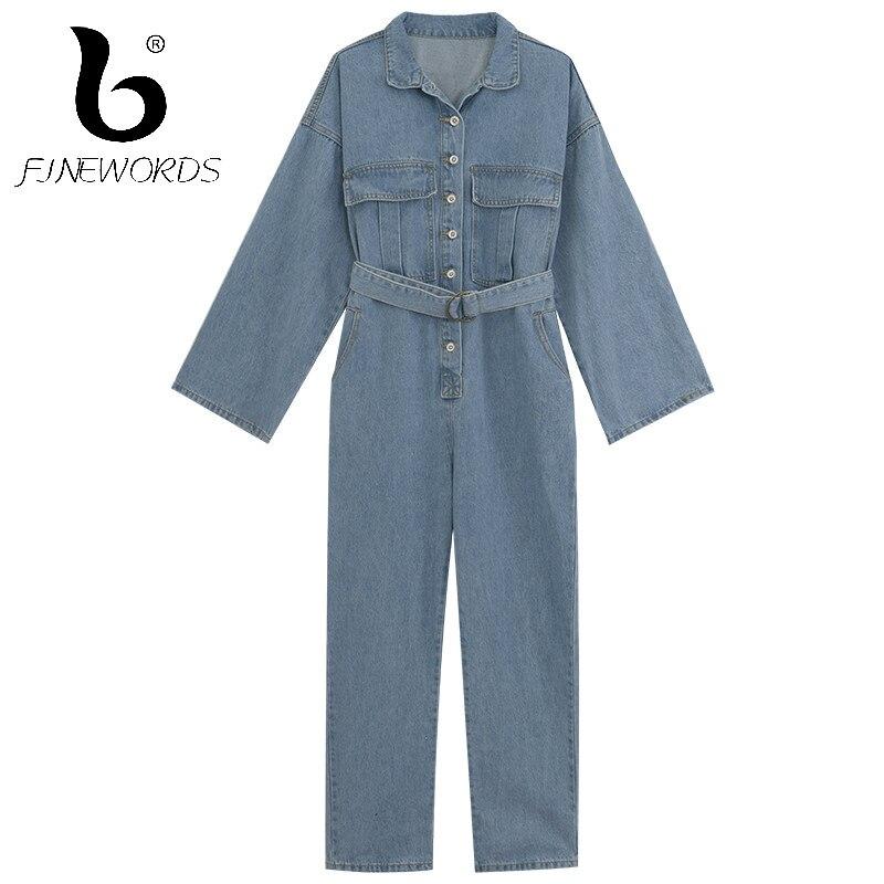 Camicia Casuale Lunga Tuta Bf Cinghia Allentato Blue Jeans Singolo Vita Tute Bottoni Finewords Blu Donne Manica Le Della Denim OqtxnP7