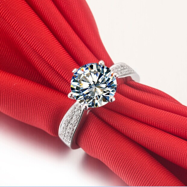 Aliexpress Buy 1 5CT Surprise Real Solid 18K White Gold Ring