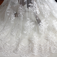 1 Meter Lace Sequins Embroidery Lace DIY Craft The Bride Wedding Dress Material Clothing Clothes Curtain