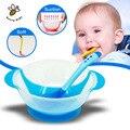 Platos vajilla de los niños del bebé de aprendizaje con succión cup ayudar plato de comida de detección de temperatura cuchara de alimentación del bebé