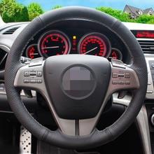 Negro de Cuero Artificial Cubierta Del Volante Del Coche para Mazda 6 2009