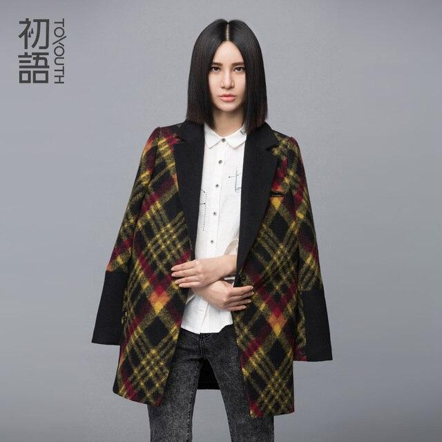Toyout H зимнее шерстяное пальто женские свободные Средний пиджаки Стиль H Тип плед квадратный воротник смеси Однобортный