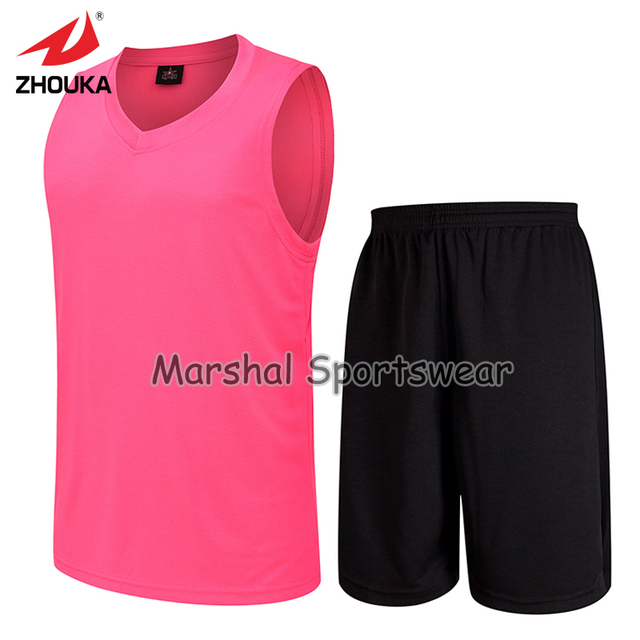 f3f2df6d18e GYM shirt training Sleeveless basketball jersey blank pink jersey suit Wear  wholesale Free Shipping Full Sublimation