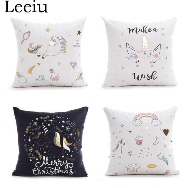 Leeiu 45 45cm Pillow Case Baby Shower Diy Unicorn Party Decoration