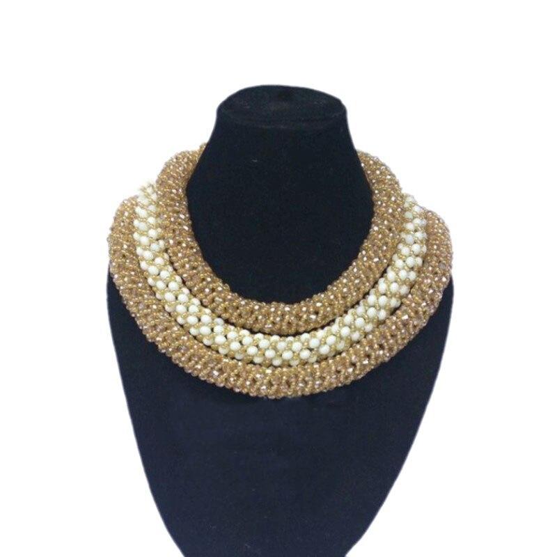 Ensembles de bijoux fins Dudo Store ensemble de bijoux de Costume rond or Champagne et blanc ensemble de bijoux en cristal africain à 3 rangées