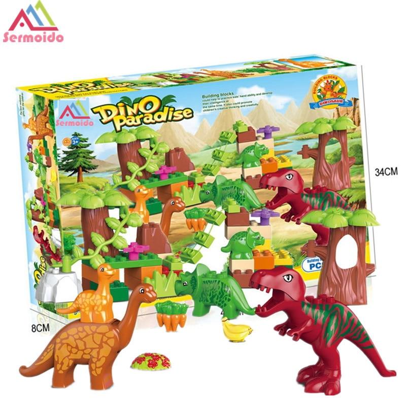 No Box 40Pcs/Lot Dino Valley Building Blocks Sets Large particles Animal Jurassic Dinosaur World Model Toys Bricks Duploe B104