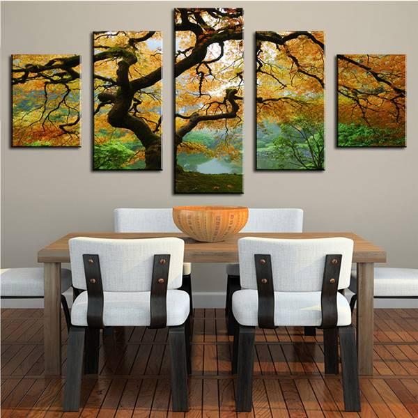 5 paneles aerosol árbol pared fotos para la sala cuadros decoracion ...