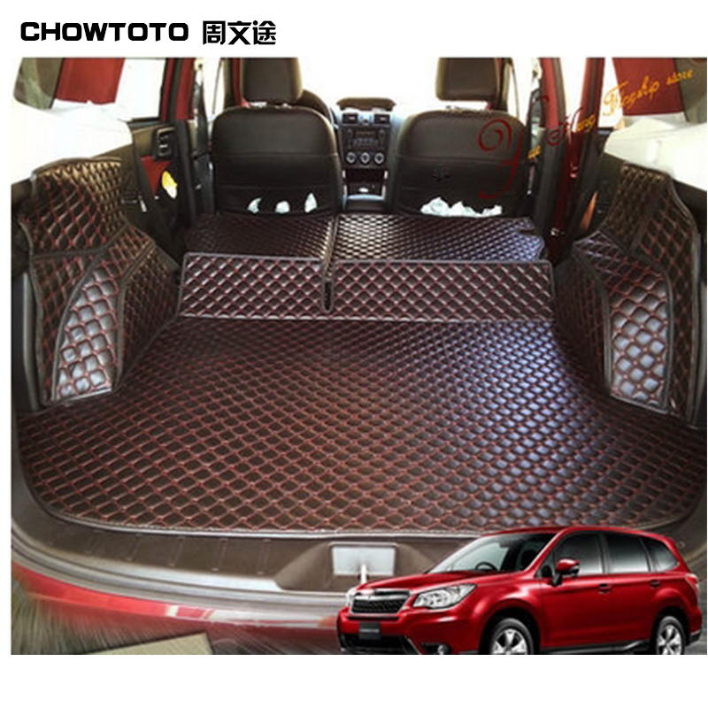 CHOWTOTOAA Auto Trunk Mats For Subaru Forester Trunk mat+back mats+two Sides Mats Waterproof Durable Leather Carpets Lagguge Pad