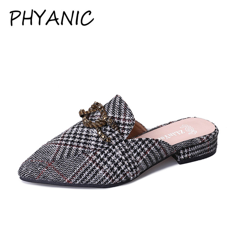 PHYANIC Ladies Summer New Slippers Metal Decoration Thick Heels Slides Footwear Summer Fashion Casual Mules Women Shoes PHY3248 women s shoes 2017 summer new fashion footwear women s air network flat shoes breathable comfortable casual shoes jdt103