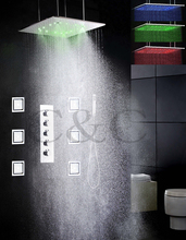 Bathroom Large Water Flow Atomizing And Rainfall Shower Faucet Set 20 Inch Temperature Sensitive LED Shower Head