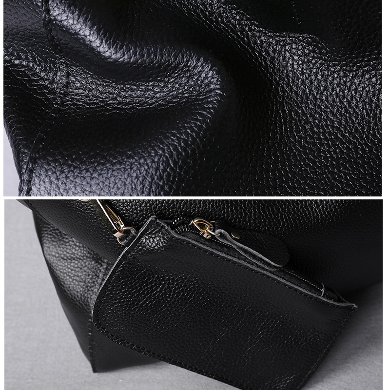 Image 3 - Genuine Leather Bag Women Casual Tote Female Luxury Simple  Fashion Handbag Lady Cowhide Leather Daily Use Shoulder Shopping Bagbag  fbag fashionf bag