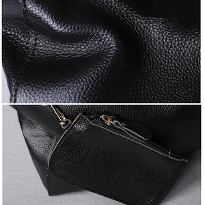 Image 3 - Genuine Leather Bag Women Casual Tote Female Luxury Simple Fashion Handbag Lady Cowhide Leather Daily Use Shoulder Shopping Bag