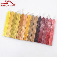 Traditional Sealing Wax Stick With Wick In Classic Color Golden Bronze Wine Red For Sealing Stamp