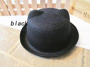[DINGDNSHOW], модная соломенная шляпа, Летний стиль, для взрослых, украшение в виде ушей, прекрасная соломенная шляпа от солнца, одноцветная широкополая Панама для женщин - Цвет: black adult