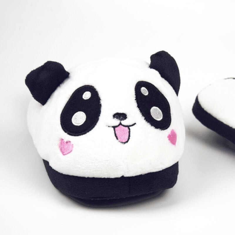 c0a6925a8 ... Lzzf Winter Indoor Panda House Slippers Flat Furry Home Cartoon Women  Emoji Plush Fluffy Slippers Fur ...