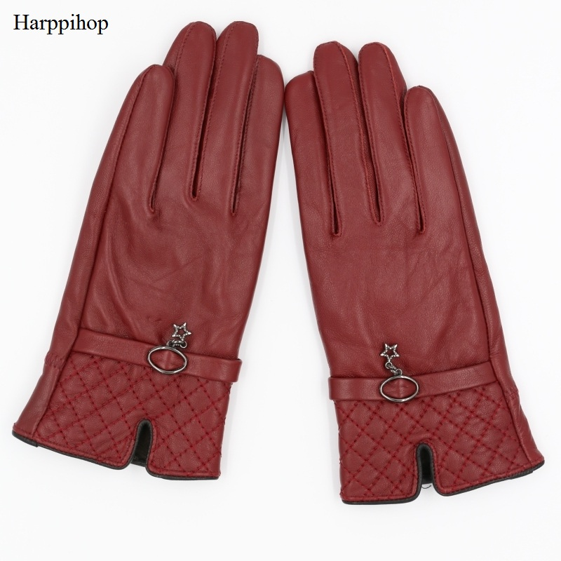 Harppihop Fall And Winter Genuine Leather Gloves For Women 2017 New Fashion Brand Black Warm Driving Glove  Mittens GSL016