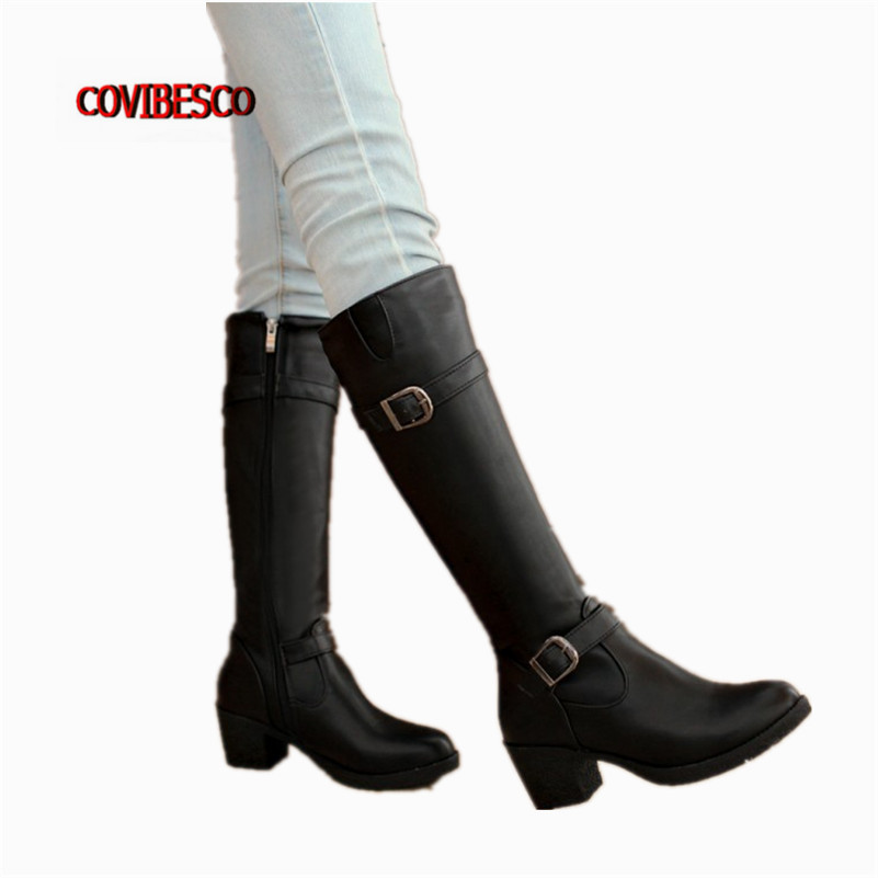 ФОТО New Women High Boots Round Toe Knight Boots Platforms Long Boots for Women Fashion Autumn Winter Motorcycle Boots Martin Shoes