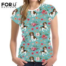 FORUDESIGNS Beagle Flower Printing T Shirt Women Abstract Pup Pattern T-shirt Females Harajuku Tees for Ladies Kawaii Clothing