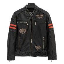 2017 Men Vintage Black Skull Leather Motorcycle Jacket Stand Collar Plus Size XXXL Slim Fit Leather