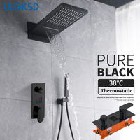 ULGKSD Shower Faucet Set 3 ways Digital Mixers Valve Rain & Waterfall Shower Head Wall Mount W/ Handshower For Bathroom