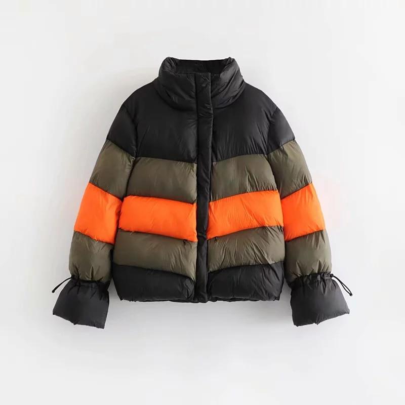Autumn Winter Women Splice Striped   Parkas   Female Turtleneck Cotton Jacket Women-s Fashion Adjustable Cuff Coat abrigo mujer 2018